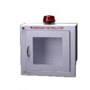 Suface mount AED cabinet with alarm and strobe.